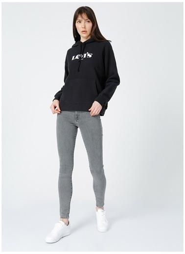 Levi's® Levis Kadın Baskılı Kapüşonlu Siyah Sweatshirt Siyah